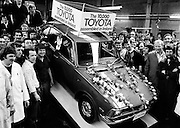 The official 'rolling-off' ceremony of the 10,000th Toyota to be assembled at the company's plant at John F. Kennedy Park, Dublin.<br />
