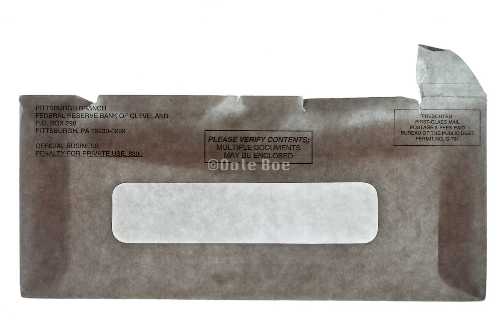 front USA Federal Reserve Bank opened envelope