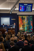 Sotheby's sale of post-war and contemporary art - highlights include: a group of works from an Important Swedish Private Collection, including Lucio Fontana's rarely seen masterwork, Concetto Spaziale, Attese (1965) Estimate £5,000,000 — 7,000,000 (pictured White, and Robert Rauschenberg's Untitled (Small oil on canvas #4) (1963) Estimate £800,000 — 1,200,000; s a self- portrait diptych by Francis Bacon from 1977 Estimate £13,000,000 — 18,000,000; a monumental and mesmeric Abstraktes Bild by Gerhard Richter Estimate £14,000,000 — 20,000,000 (pictured right); and works by Cy Twombly, Nicolas de Staël, Yves Klein, Jean-Michel Basquiat and Andy Warhol.