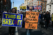 Hundreds of thousands of people protest in the Unite for Europe March on<br /> Parliament against Brexit demonstration on 25th March 2017 in London, United Kingdom. The march in the capital brings together protesters from all over the country, angry at the fact that Article 50 will be invoked and to listen to the 48 percent of British voters who voiced against Brexit. Since the vote was announced, there have been demonstrations, protests and endless political comment in all forms of media. Half of the country very displeased with the result and the prospect of being taken out of the European Union against their will, and with uncertainty as to what will happen next in the politics surrounding the exit from Europe.