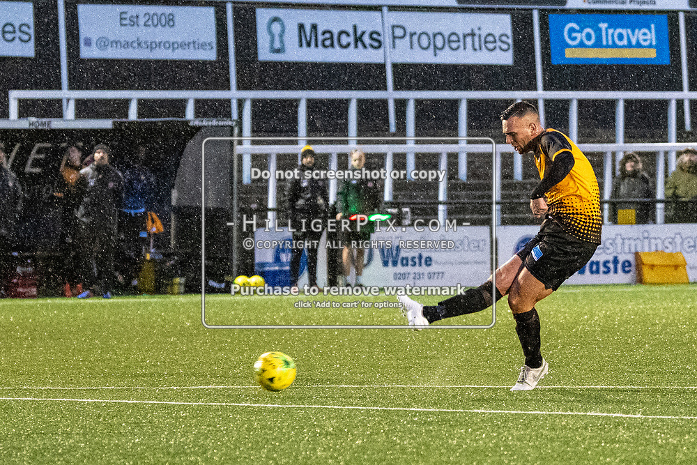 BROMLEY, UK - NOVEMBER 09: Joseph Taylor, of Cray Wanderers FC, scores during the BetVictor Isthmian Premier League match between Cray Wanderers and Cheshunt at Hayes Lane on November 9, 2019 in Bromley, UK. <br /> (Photo: Jon Hilliger)