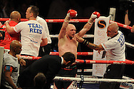 lightweight bout.<br /> Gavin Rees of Wales celebrates after his win  v Gary Buckland of Wales. 'The second coming'  boxing event at the Motorpoint Arena in Cardiff, South Wales on Sat 17th May 2014. <br /> pic by Andrew Orchard, Andrew Orchard sports photography.