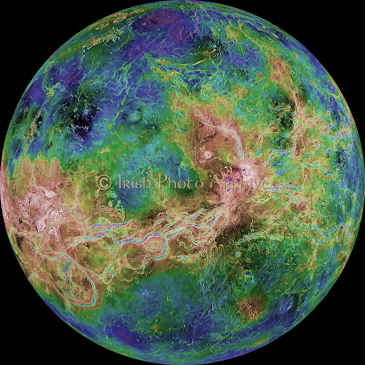 The hemispheric view of Venus, as revealed by more than a decade of radar investigations culminating in the 1990-1994 Magellan mission, is cantered at 180 degrees east longitude. The Magellan spacecraft imaged more than 98% of Venus at a resolution of about 100 meters; the effective resolution of this image is about 3 km. A mosaic of the Magellan images (most with illumination from the west) forms the image base. Gaps in the Magellan coverage were filled with images from the Earth-based Arecibo radar in a region cantered roughly on 0 degree latitude and longitude, and with a neutral tone elsewhere (primarily near the south pole).