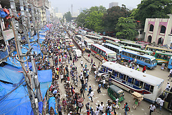 June 17, 2017 - Dhaka, Bangladesh - The street shoe-sellers are doing a brisk business with their mixed collection of used and new shoes at Gulistan, in Dhaka, Bangladeh, June 17, 2017. (Credit Image: © Suvra Kanti Das via ZUMA Wire)