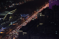February 6, 2018 - Xi'An, Xi'an, China - Xi'an,CHINA-6th February 2018: Cars run slowly due to the traffic jam during rush hour in Xi'an,  northwest China's Shaanxi Province. (Credit Image: © SIPA Asia via ZUMA Wire)