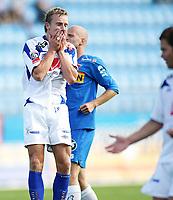 Fotball , <br /> Adeccoligaen , <br /> 13.07.08 , <br /> Komplett.no stadion , <br /> Sandefjord - FK Haugesund , <br /> Kevin Nicol er skuffet over å ha misset en målsjangse , <br /> Foto: Thomas Andersen / Digitalsport