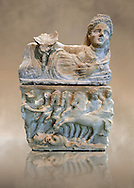150-27 B.C Etruscan Hellenistic style cinerary urn,  National Archaeological Museum Florence, Italy .<br /> <br /> If you prefer to buy from our ALAMY PHOTO LIBRARY  Collection visit : https://www.alamy.com/portfolio/paul-williams-funkystock - Scroll down and type - Etruscan Florence - into LOWER search box. (TIP - Refine search by adding a background colour as well).<br /> <br /> Visit our ETRUSCAN PHOTO COLLECTIONS for more photos to download or buy as wall art prints https://funkystock.photoshelter.com/gallery-collection/Pictures-Images-of-Etruscan-Historic-Sites-Art-Artefacts-Antiquities/C0000GgxRXWVMLyc
