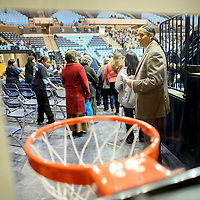 """012214  Adron Gardner/Independent<br /> <br /> Window Rock Scout varsity basketball coach Warlance Foster awaits opening ceremonies for the Bee Hółdzil """"Stronghold"""" Fight Scouts Event Center in Fort Defiance Wednesday."""