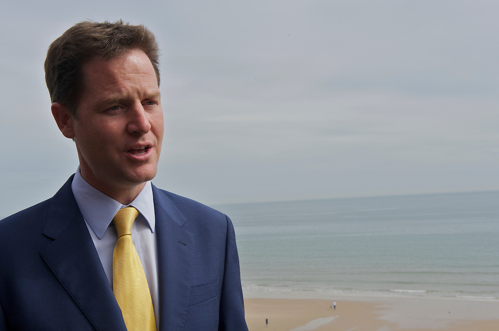 Liberal Democrat leader Nick Clegg campaigns on 27 April 2010, interviewed with a seaside view after addressing a nursing conference at Bournemouth International Center in Bournemouth, UK.  With the general election looming on 6 May 2010, predicted to be one of the closest and most fiercely fought in decades, candidates are campaigning at a torrid pace, holding many events throughout the UK.