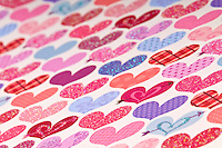 Background with shapes of hearts, Use of selective focus, Ideal Background to use in Saint Valentine designs