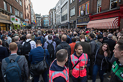 London, UK. 30th April 2019. Survivors of the Admiral Duncan bombing join families and friends of the victims and the LGBTQ community outside the Admiral Duncan pub in Old Compton Street, Soho, to mark 20 years since the attack. Three people were killed and 79 injured when a bomb packed with up to 1,500 four-inch nails was detonated by a neo-Nazi at the Admiral Duncan on 30th April 1999.