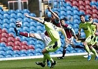 Football - 2020 / 2021 Premier League - Burnley vs. Newcastle United<br /> <br /> Chris Wood of Burnleytries to control the ball in the Newcastle United area as Federico Fernandez of Newcastle United challenges, at Turf Moor.<br /> <br /> <br /> COLORSPORT/ALAN MARTIN