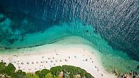 Aerial view of a beach on Agios Ioannis, Greece.