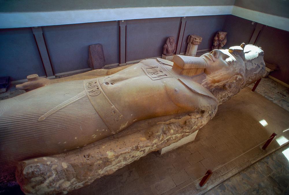 Limestone Colossus of Ramses II, Memphis (village of Mit Rahina, outside Cairo), Egypt
