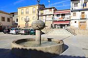 Traditional architecture Plaza Mayor, village of Cuacos de Yuste, La Vera, Extremadura, Spain