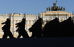 April 26, 2018 - Saint Petersburg, Russia - Russian soldiers march during a rehearsal for the Victory Day military parade at Dvortsovaya (Palace) Square in St.Petersburg, during preparations to celebrate 73 anniversary of victory in World War II. (Credit Image: © Elena Ignatyeva via ZUMA Wire)