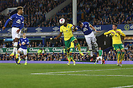 Sebastien Bassong of Norwich City heads the ball clear as Everton look to score. EFL Cup, 3rd round match, Everton v Norwich city at Goodison Park in Liverpool, Merseyside on Tuesday 20th September 2016.<br /> pic by Chris Stading, Andrew Orchard sports photography.