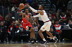 January 27, 2019 - Chicago, IL, USA - Chicago Bulls guard Antonio Blakeney (9) passes against Cleveland Cavaliers guard Rodney Hood (1) in the first half on Sunday, Jan. 27, 2019 at the United Center in Chicago, Ill. The Cavaliers defeated the Bulls, 104-101. (Credit Image: © Brian Cassella/Chicago Tribune/TNS via ZUMA Wire)
