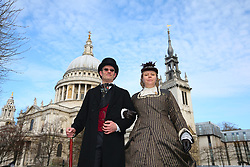 Volunteers outside St Paul's cathedral ahead of the 2019 London Landmarks Half Marathon.