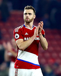 Calum Chambers of Middlesbrough applauds the fans - Mandatory by-line: Robbie Stephenson/JMP - 05/12/2016 - FOOTBALL - Riverside Stadium - Middlesbrough, England - Middlesbrough v Hull City - Premier League