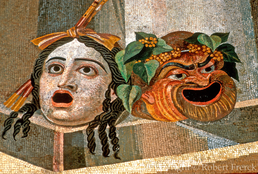 ITALY, ROMAN Capitoline Museum in Rome; Mosaic of  Comedy and Tragic Theatre masks from  2nd Century AD from Dall'Aventino