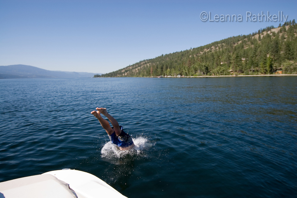 Diving into Okanagan Lake on a summer day is refreshing in the hot weather.