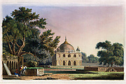 Mausoleum of Sultan Chusero, near Allahabad, July 1796 Sultan Chusero was the son of the Emperor Jehangire. His tomb is situated amidst trees of considerable magnitude in a handsome garden, laid out in the Hindoostan taste, with paved walks, avenues and fountains. The Mausoleum is built of freestone upon a paved terrace, and the whole has a grand effect. Sultan Chusero died in the year 1621. From the book ' Oriental scenery: one hundred and fifty views of the architecture, antiquities and landscape scenery of Hindoostan ' by Thomas Daniell, and William Daniell, Published in London by the Authors January 1, 1812