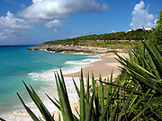 Cupecoy Beach, clouds and yucca plants, Saint-Martin