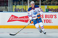 PENTICTON, CANADA - SEPTEMBER 9: Austin Strand #80 of Edmonton Oilers warms up against the Winnipeg Jets on September 9, 2017 at the South Okanagan Event Centre in Penticton, British Columbia, Canada.  (Photo by Marissa Baecker/Shoot the Breeze)  *** Local Caption ***