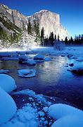 El Capitan from the snowy Merced River, Yosemite Valley, Yosemite National Park, California.