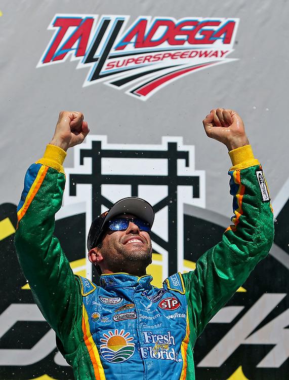 May 6, 2017; Talladega, AL, USA; NASCAR Xfinity Series driver Aric Almirola (98) celebrates winning the Sparks Energy 300 at Talladega Superspeedway. Mandatory Credit: Peter Casey-USA TODAY Sports