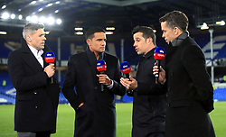 Everton manager Marco Silva (centre) speaks to Sky Sports presenter David Jones (right) and pundits Tim Cahill (second left) and Jon Walters after the Premier League match at Goodison Park, Liverpool.