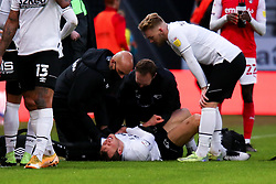 Derby County medical staff check on Krystian Bielik of Derby County - Mandatory by-line: Ryan Crockett/JMP - 16/01/2021 - FOOTBALL - Pride Park Stadium - Derby, England - Derby County v Rotherham United - Sky Bet Championship
