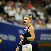 2016 U.S. Open - Day 10  Simona Halep of Romania in action against Serena Williams of the United States in the Women's Singles Quarterfinal match on Arthur Ashe Stadium on day ten of the 2016 US Open Tennis Tournament at the USTA Billie Jean King National Tennis Center on September 7, 2016 in Flushing, Queens, New York City.  (Photo by Tim Clayton/Corbis via Getty Images)