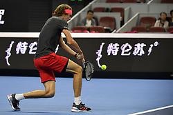October 10, 2018 - Beijing, Beijing, China - Beijing,CHINA-Professional tennis player Malek Jaziri defeats Alexander Zverev 2-1 at 2018 China Open in Beijing, China. (Credit Image: © SIPA Asia via ZUMA Wire)