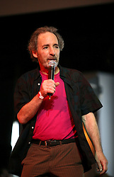 16 May 2010. New Orleans, Louisiana. <br /> Gulf Aid - a benefit festival for Louisiana fishermen and our coast.<br /> Harry Shearer, actor, voice of Mr Burns and others on The Simpsons hit TV franchise introduces the bands. Local musicians have gathered together in response to BP's massive oil spill in the Gulf of Mexico, threatening the very fabric of an entire region. All proceeds from the event will be used to support local fishing communities and the region.<br /> Photo credit; Charlie Varley/varleypix.com