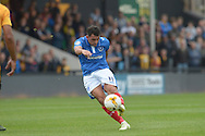 Gary Roberts of Portsmouth takes a shot from outside the box. Skybet football league two match, Cambridge Utd v Portsmouth at the Abbey Stadium  in Cambridge on Saturday 10th October 2015.<br /> pic by John Patrick Fletcher, Andrew Orchard sports photography.