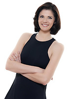 one beautiful smiling  woman portrait arms crossed in studio isolated on white background