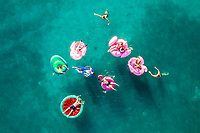 Tisno, Croatia - 9<br /> AUGUST 2019: Aerial view of people floating in the turquoise waters