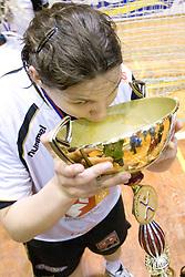 Cvijic Dragana drinking champagne from cup of Krim at last 10th Round handball match of Slovenian Women National Championships between RK Krim Mercator and RK Olimpija, on May 15, 2010, in Galjevica, Ljubljana, Slovenia. Olimpija defeated Krim 39-36, but Krim became Slovenian National Champion. (Photo by Vid Ponikvar / Sportida)