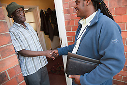 Social worker with elderly client.