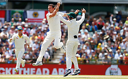 Australia's Josh Hazelwood celebrates the wicket of Mark Stoneman during day four of the Ashes Test match at the WACA Ground, Perth.