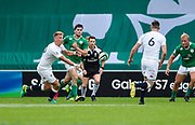 England fly-half Harry Mallinder feeds the ball on to flanker George Nott during the World Rugby U20 Championship Final   match England U20 -V- Ireland U20 at The AJ Bell Stadium, Salford, Greater Manchester, England onSaturday, June 25, 2016. (Steve Flynn/Image of Sport)