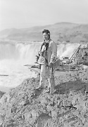 9305-B7362-5.  Tom Frank Yallup at Celilo Falls, Columbia River, Oregon. September 1938.