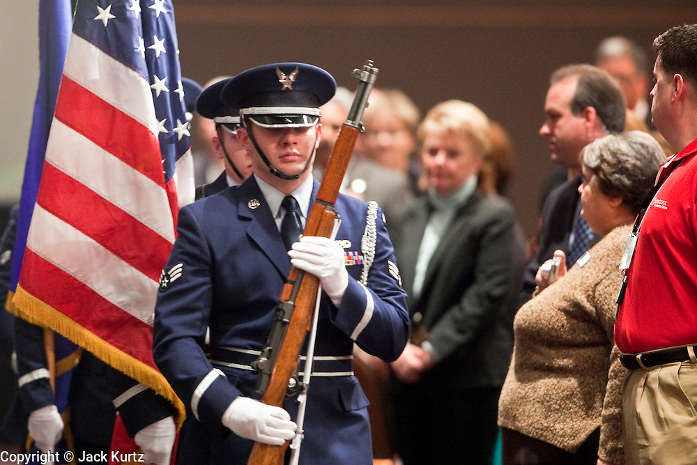 tucsonshooting - 11 JANUARY 2011 - TUCSON, AZ:  The Honor Guard from Davis Mothan Air Force Base in Tucson presents the colors during the Governor's  appearance in Tucson Tuesday. She used the opportunity to talk about importance of sacrifice and public service.   ARIZONA REPUBLIC PHOTO BY JACK KURTZ mass shooting Gabrielle Giffords shooting
