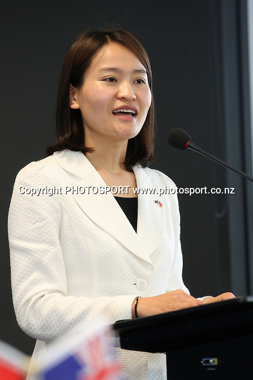Gao Yaling speaks at the Signing of Agreement between Auckland Tourism, Events and Economic Development and the Beijing Investment Promotion Board, Auckland, New Zealand. Saturday 12th May 2012. Photo: Wayne Drought / photosport.co.nz