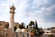Israel, Abu Ghosh, an Israeli Arab village west of Jerusalem in the Mateh Yehudah Regional councils in the Judean Mountains. Turret of a mosque