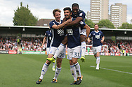 Andreas Bouhalakis of Nottingham Forest © celebrating with teammates after scoring his team's third goal. EFL Skybet football league championship match, Brentford  v Nottingham Forest at Griffin Park in London on Saturday 12th August 2017.<br /> pic by Steffan Bowen, Andrew Orchard sports photography.