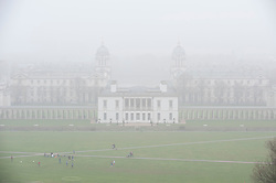 © Licensed to London News Pictures. 07/04/2019.<br /> Greenwich, UK.A misty view of the Queens house Greenwich Park. A foggy damp morning in London and the South East as people are out and about in Greenwich Park, Greenwich, London.  Photo credit: Grant Falvey/LNP