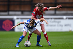 Emma Bissell of Bristol City Women challenges Harriet Scott of Birmingham City Women - Mandatory by-line: Ryan Hiscott/JMP - 18/10/2020 - FOOTBALL - Twerton Park - Bath, England - Bristol City Women v Birmingham City Women - Barclays FA Women's Super League